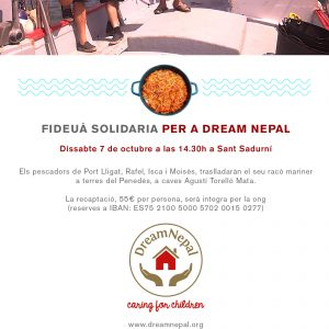Invitación Fideuà solidària para Dream Nepal en Portligat